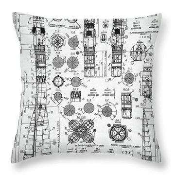 Soviet Rocket Schematics Throw Pillow by Taylan Apukovska