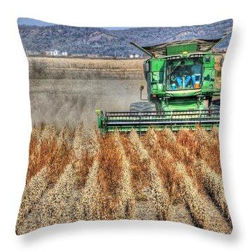 Soybean Harvest Fremont County Iowa Throw Pillow