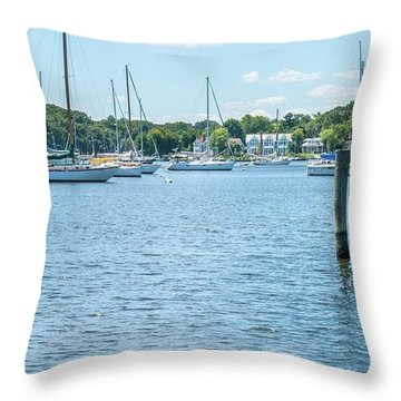 Spa Creek In Blue Throw Pillow