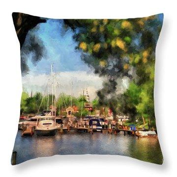 Spa Creek Throw Pillow by Lois Bryan