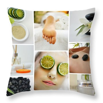 Spa Massage Facial Collage Throw Pillow