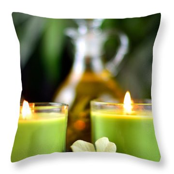 Spa Rocks And Candles Throw Pillow