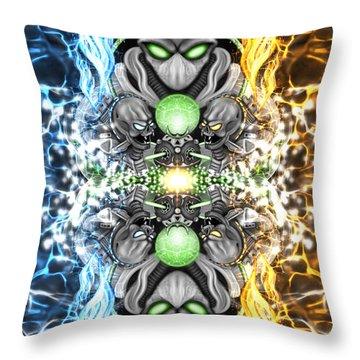 Space Alien Time Machine Fantasy Art Throw Pillow