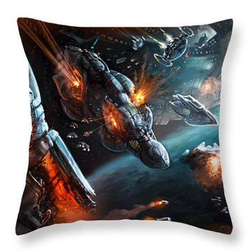 Space Battle Throw Pillow