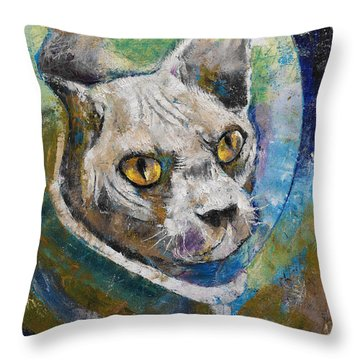 Space Cat Throw Pillow by Michael Creese