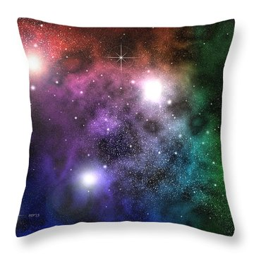Throw Pillow featuring the digital art Space Clouds by Phil Perkins