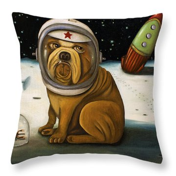 Throw Pillow featuring the painting Space Crash by Leah Saulnier The Painting Maniac
