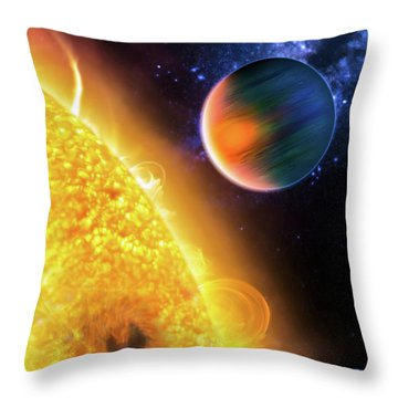 Throw Pillow featuring the photograph Space Image Extrasolar Planet Yellow Orange Blue by Matthias Hauser
