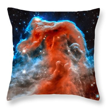 Space Image Horsehead Nebula Orange Red Blue Black Throw Pillow