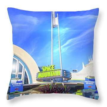 Throw Pillow featuring the photograph Space Mountain Entrance Panorama by Mark Andrew Thomas