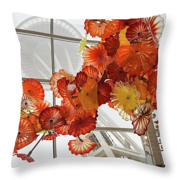 Space Needle And Chihuly Throw Pillow