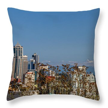 Space Needle And Mt. Rainier Throw Pillow