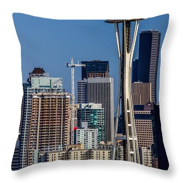 Space Needle And Seattle Skyline A Throw Pillow