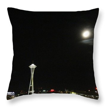 Space Needle And The Full Moon Throw Pillow