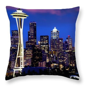 Space Needle At Night  Throw Pillow