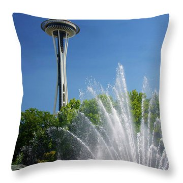 Space Needle In Seattle Throw Pillow