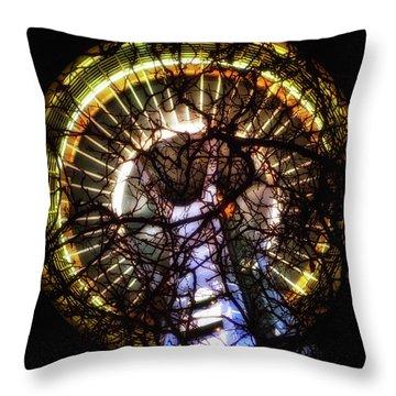 Space Needle Night Throw Pillow