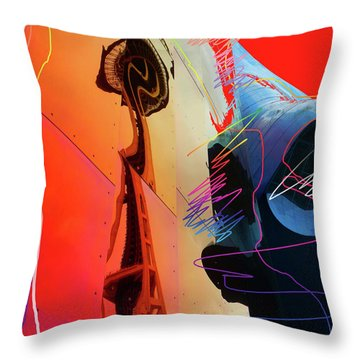 Throw Pillow featuring the digital art Space Needle Reflection 1 by Walter Fahmy