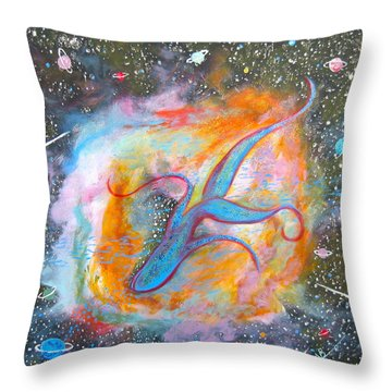 Space Ocean Throw Pillow by V Boge