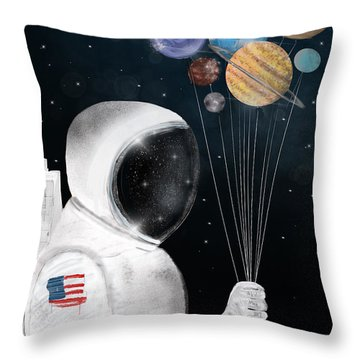Space Party Throw Pillow