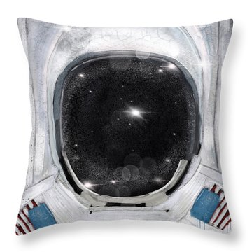 Throw Pillow featuring the painting Space Selfie by Bri B