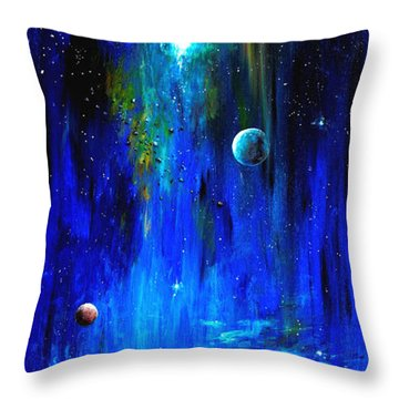 Space Shark Throw Pillow by Arturas Slapsys