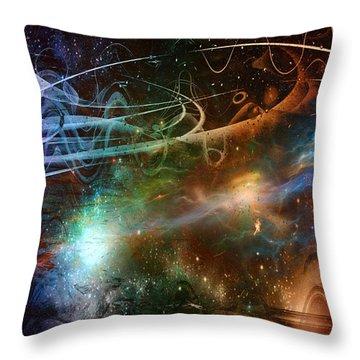 Throw Pillow featuring the digital art Space Time Continuum by Linda Sannuti