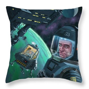 Spaceman With Space Station Orbiting Green Planet Throw Pillow