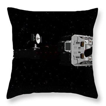 Spaceship Uss Cumberland Traveling Through Deep Space Throw Pillow