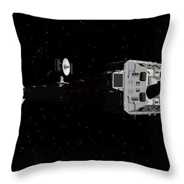 Spaceship Uss Cumberland Traveling Through Deep Space Throw Pillow