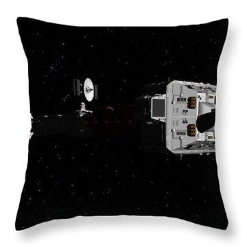 Spaceship Uss Cumberland Traveling Through Deep Space Throw Pillow by David Robinson