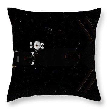 Spaceship Uss Savannah In Deep Space Throw Pillow