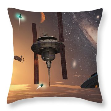 Spaceships Used By Different Alien Throw Pillow by Mark Stevenson