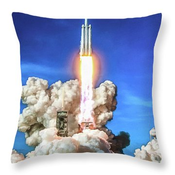 Spacex Falcon Heavy Rocket Launch Throw Pillow