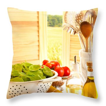 Spaghetti And Tomatoes In Country Kitchen Throw Pillow by Amanda Elwell