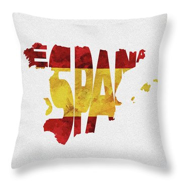 Spain Typographic Map Flag Throw Pillow