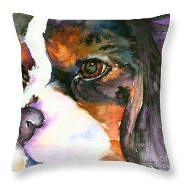Throw Pillow featuring the painting Spaniel by Christy Freeman