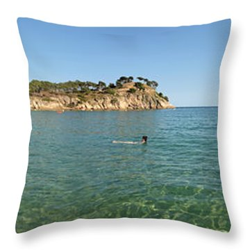 Throw Pillow featuring the photograph Spanish Beach Seascape by Gregory Dyer