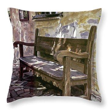 Spanish Bench, Mission Carmel Throw Pillow