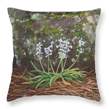 Spanish Bluebells Throw Pillow by Carla Dabney