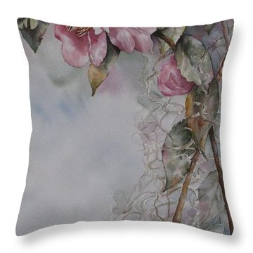 Throw Pillow featuring the painting Spanish Camellias by Mary McCullah