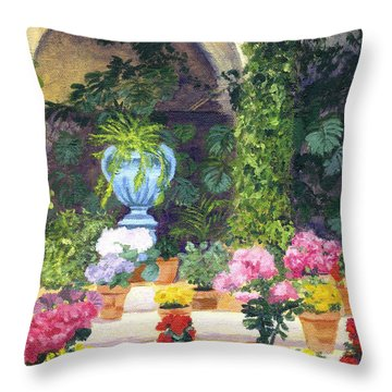Spanish Courtyard Throw Pillow