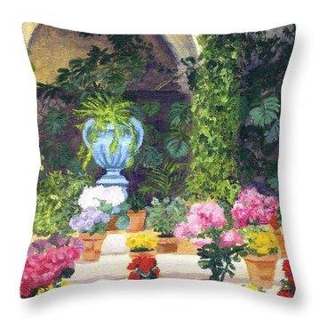 Spanish Courtyard Throw Pillow by Lynne Reichhart