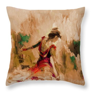 Throw Pillow featuring the painting Spanish Dance Culture  by Gull G