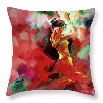 Throw Pillow featuring the painting Spanish Dance by Gull G