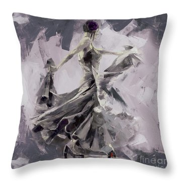 Throw Pillow featuring the painting Spanish Dance Painting 03 by Gull G