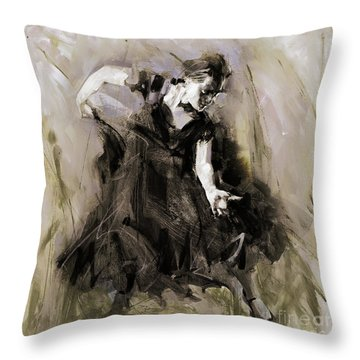 Throw Pillow featuring the painting Spanish Dancer 3400i by Gull G