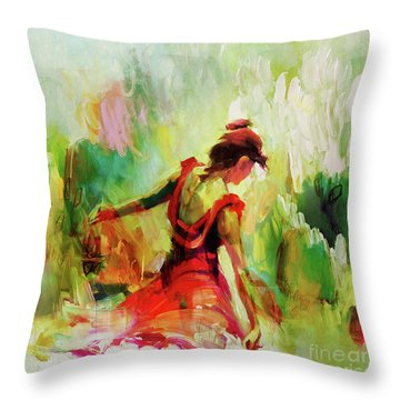 Throw Pillow featuring the painting Spanish Female Art 56y by Gull G