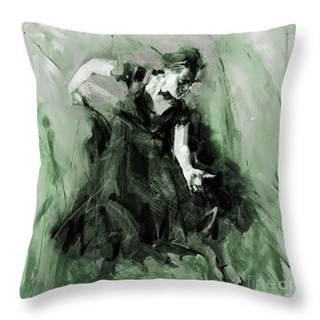 Throw Pillow featuring the painting Spanish Flamenco Dancer by Gull G
