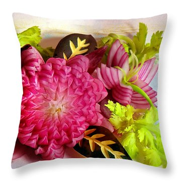 Spanish Flowers Throw Pillow by John Poon
